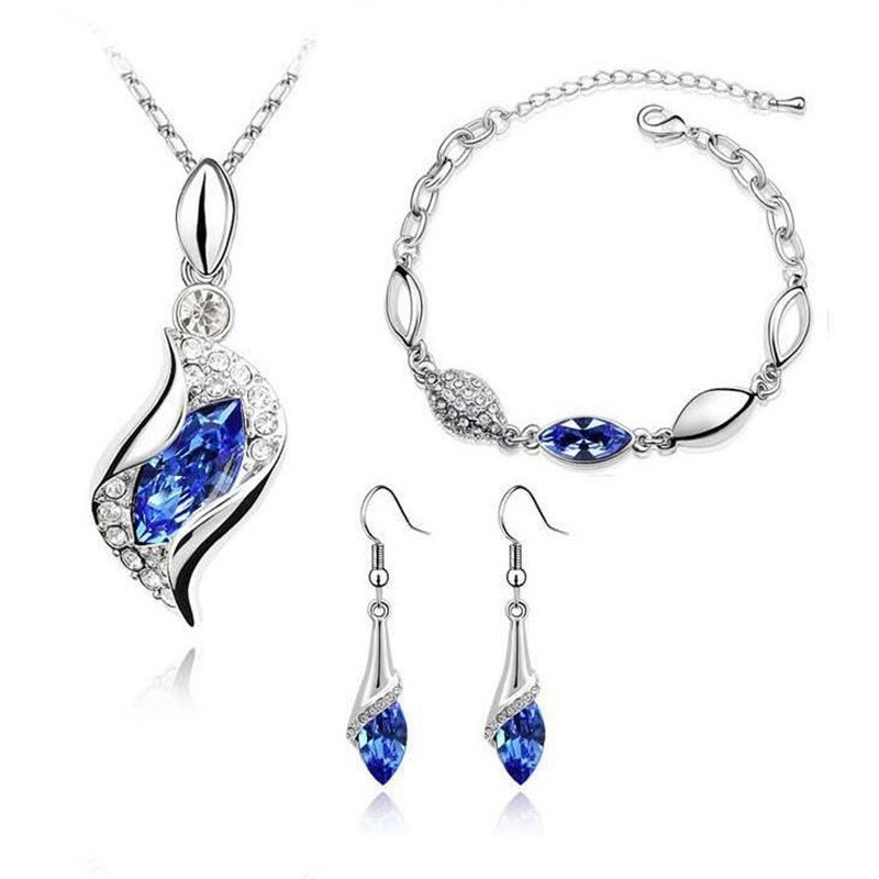 MINHIN Necklace Earrings Bracelet Jewelry-Sets Silver Women Luxury Crystal 3pcs Austrian