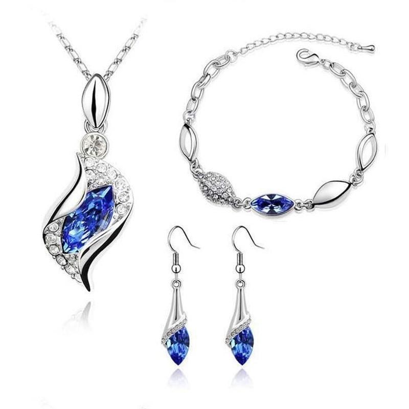 MINHIN Necklace Earrings Bracelet Jewelry-Sets Silver Women Luxury Crystal 3pcs Austrian