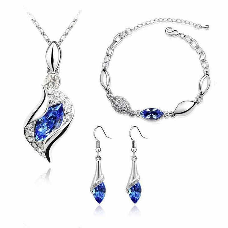 MINHIN Women Luxury Silver Jewelry Sets Multi Colors Austrian Crystal Necklace Earrings Bracelet 3pcs Wedding Set Drop Ship