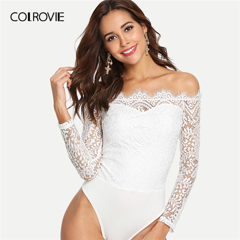 COLROVIE White Off The Shoulder Floral Lace Zipper Bardot Elegant Bodysuit Women 2019 Spring Long Sleeve Skinny Party Bodysuits