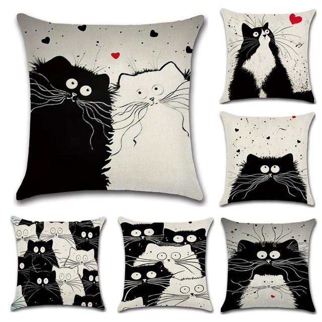 Cartoon Cat Printed Linen Cushion Cover