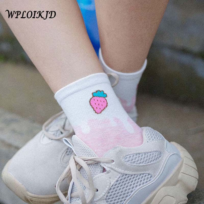 [WPLOIKJD]Harajuku Cute Korean Funny Socks Women Fruit Cherry/Peach/Strawberry White Socks Women Cotton Calcetines Mujer Sokken