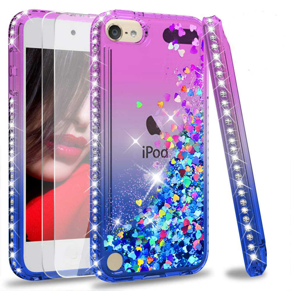 Funda brillante de diamante brillante para Apple iPod Touch 6 Coque para Apple iPod Touch 5 líquido arena movediza flotador cubierta