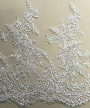 44cm Width Car Bone Lace Applique Bridal Wedding Dress Embroidery Alencon Trim DIY Crafts YYN518