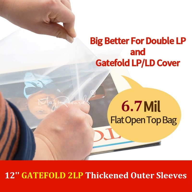 30 Flat Open Top Bag 6.7Mil Strong Cover Plastic Vinyl Record Outer Sleeves For 12'' Double / Gatefold 2LP 3LP 4LP