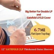 30 flach Oben Offenen Tasche 6,7 Mil Starke Abdeckung Kunststoff Vinyl Record Äußere Ärmeln für 12 Doppel/Gatefold 2LP 3LP 4LP