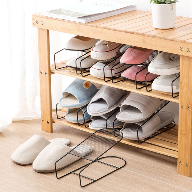 Iron Double   Foot Shoe Simple Shoes Slippers Shelf Creative Home Shoes  Storage Rack