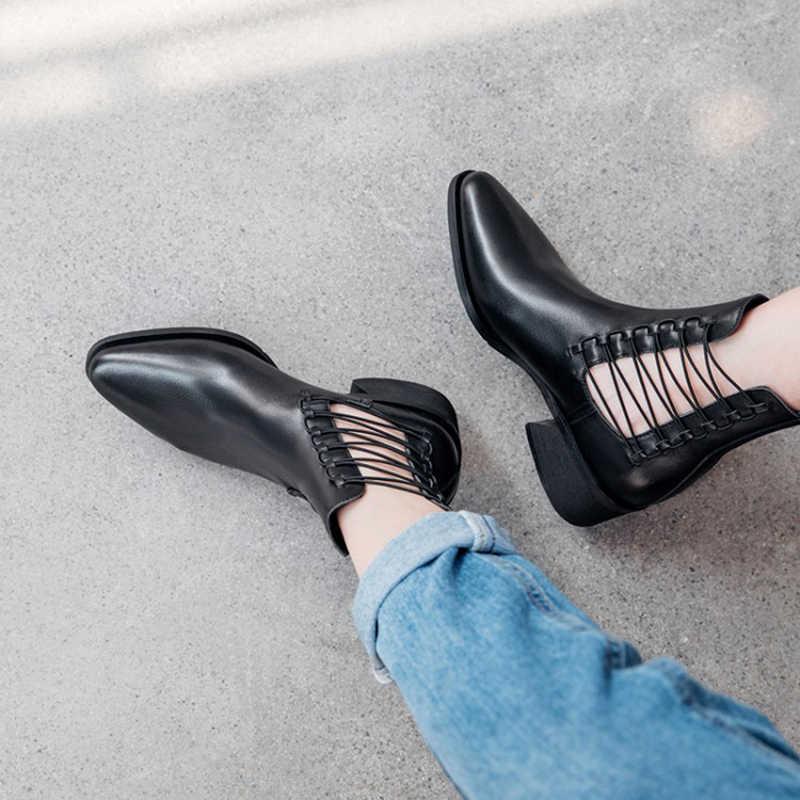 Donna-in el yapımı hakiki deri kadın çizmeler sonbahar Med topuk sivri burun yarım çizmeler kadınlar için 2019 moda kayma kadın ayakkabı