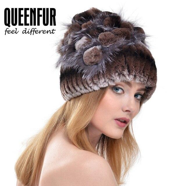 QUEENFUR Real Knitted Rex Rabbit Fur Beanies With Silver Fox Fur Flower Stripe Hat 2016 Winter Russian Style Women Fur Cap
