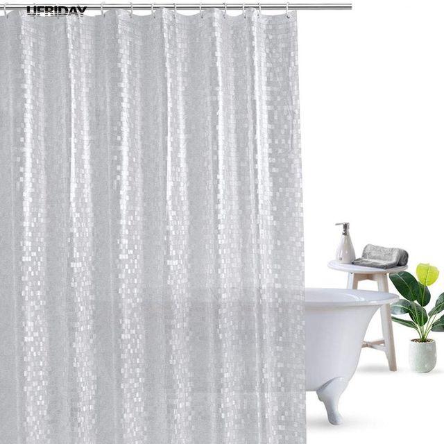 UFRIDAY Glitter Shower Curtain Waterproof Mildewproof PVC Bath Curtains Mosaics For The Bathroom 3D Cube