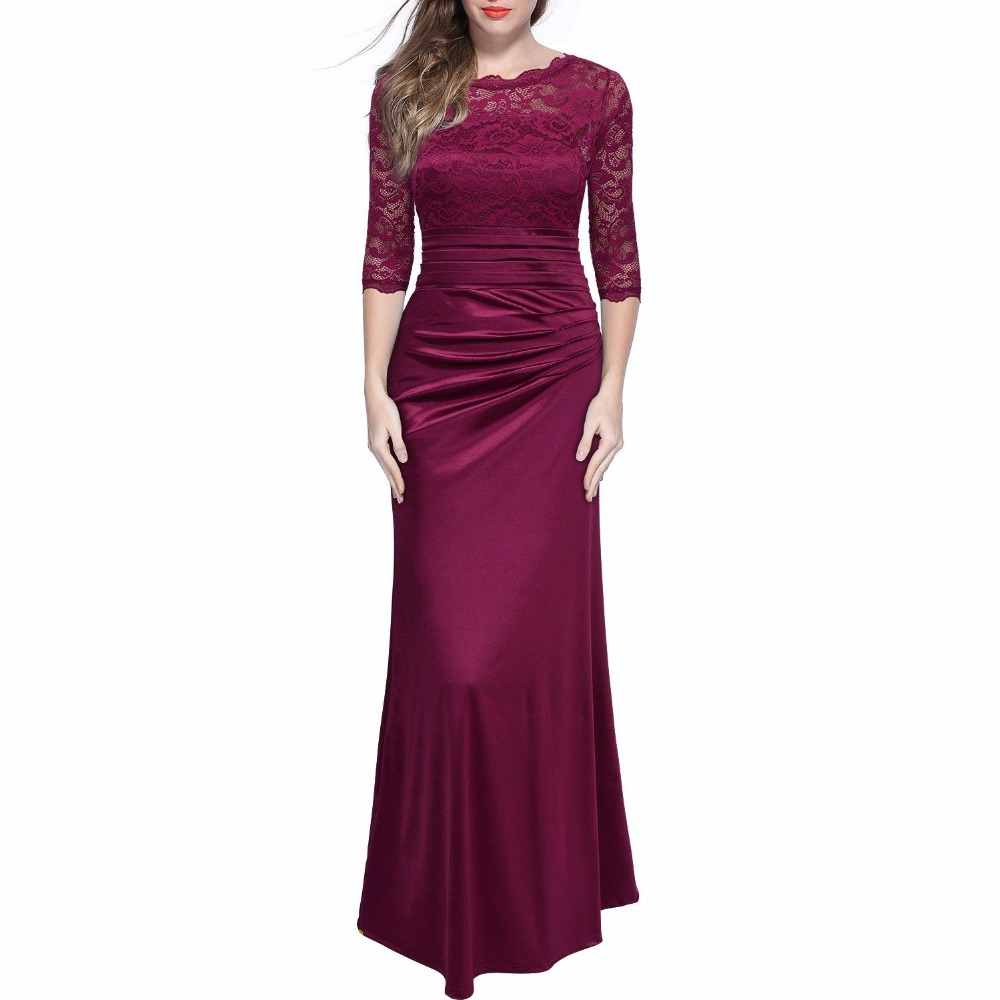 Nya eleganta Retro Ladies Lace Hollow Out broderier ärmar Evening Maxi Dress Kvinnor Vintage Party Långa Kjolar Vestidos Robe