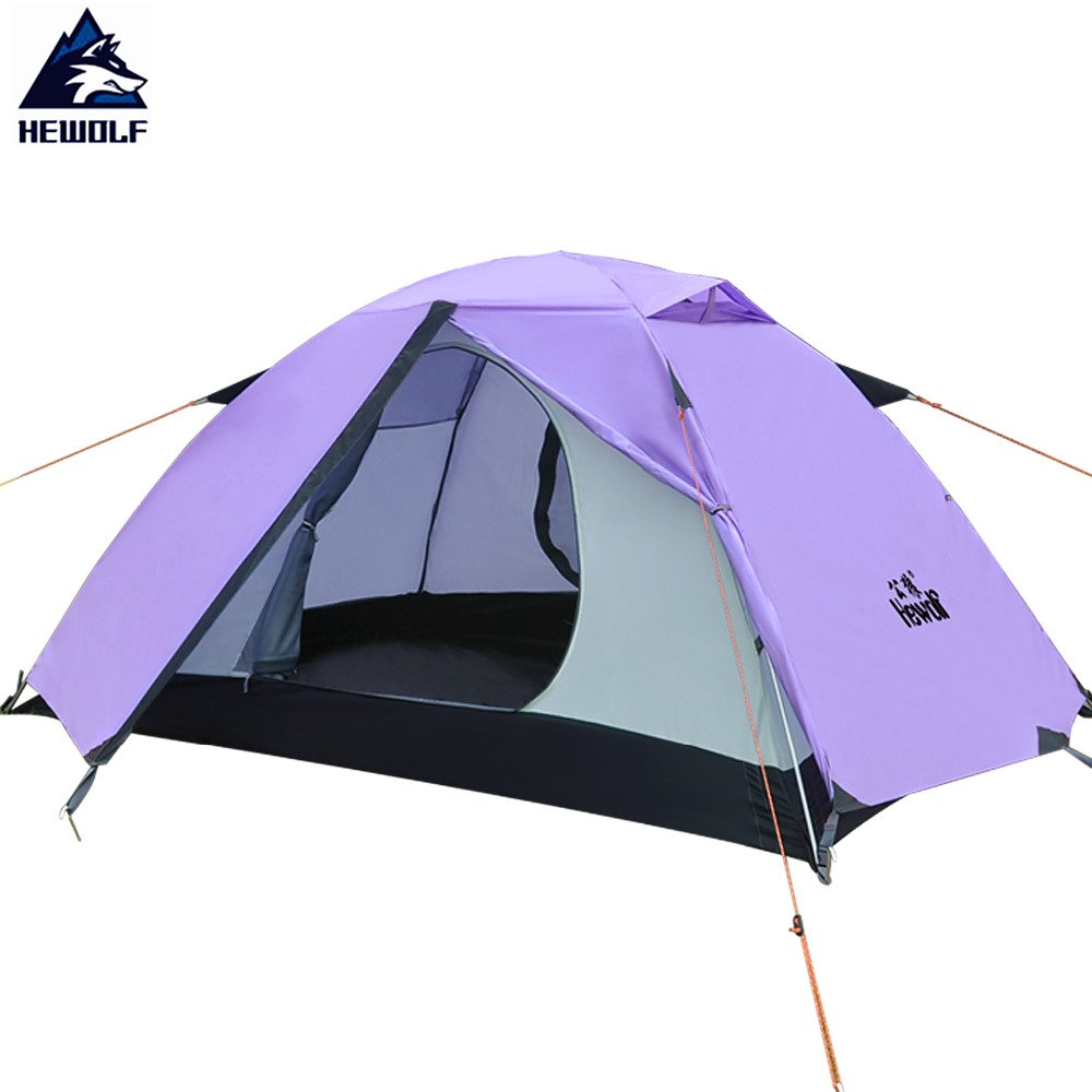 Hewolf 2 Persen Outdoor Camping Tent Waterproof Index Bottom 7000mm Outer 5000mm Family Party Fishing Beach Camping Tent 3 Color