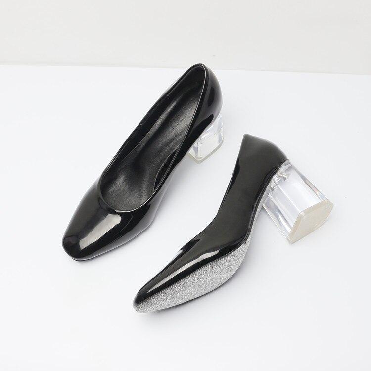 ФОТО OL Square Toe High Heels Transparent Heels Women Slip on Sexy Dress Shoes Genuine Leather solid pumps