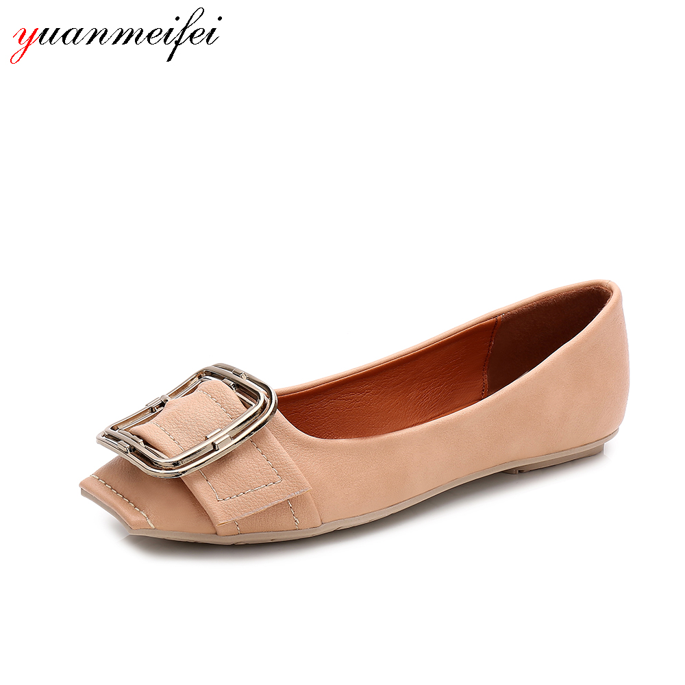 yuanmeifei Ballet Flats Shoes Women Casual Loafers Shoes Ladies Sandals Slip-On Plus Size 41 Square Toe Buckle 2017 New Arrival odetina 2017 new summer women ankle strap ballet flats buckle hollow out flat shoes pointed toe ladies comfortable casual shoes