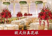 Кольцо 50 см диаметр искусственного шелка красных роз с цветы пиона Таблица центральная часть свадебный цветок docoration 2 шт./лот