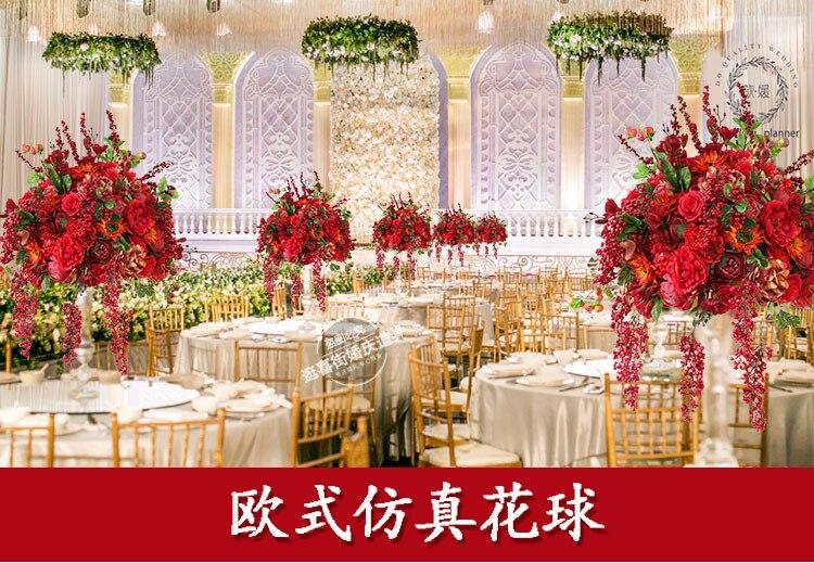 Hotsale 50 cm diamètre soie artificielle rouge roses avec pivoine fleurs table pièce centrale mariage fleur décoration 2 pcs/lot