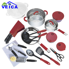 Hot Sale Stainless Steel 24 Pieces Cooking Pots With Double Side Frying Pan Hot Pot And Pans Cookware Set