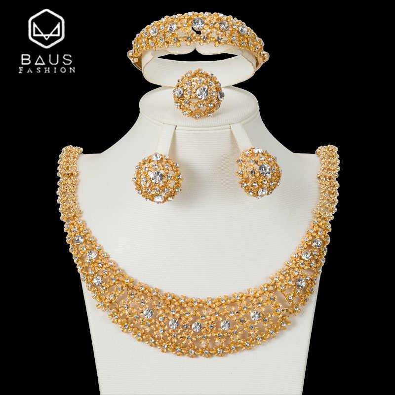 BAUS Дубай, Золотые Ювелирные наборы для женщин, большое ожерелье, Африканский бисер, ювелирный набор, подарок на день матери, Роскошные вечерние ювелирные изделия для невесты