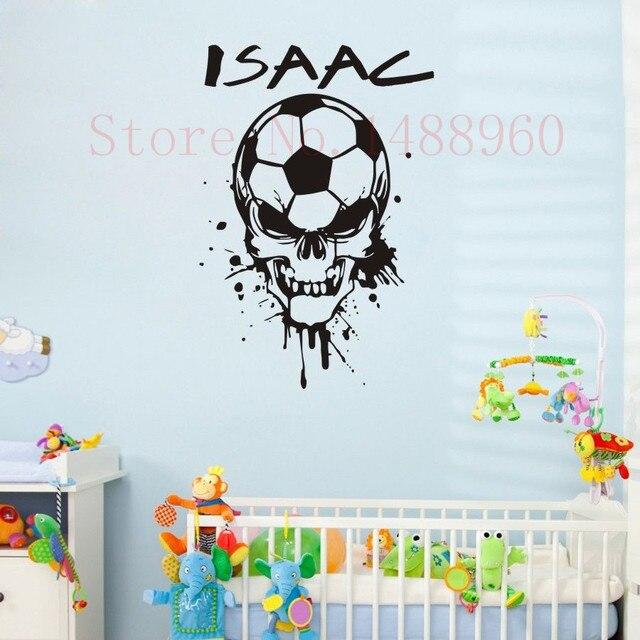 US $5.87 16% OFF|E78 FUßBALL SCHÄDEL KOPF Benutzerdefinierte Name  Wandtattoo aufkleber jungen kinderzimmer Wandkunst Personalisierten Name  Kunden ...