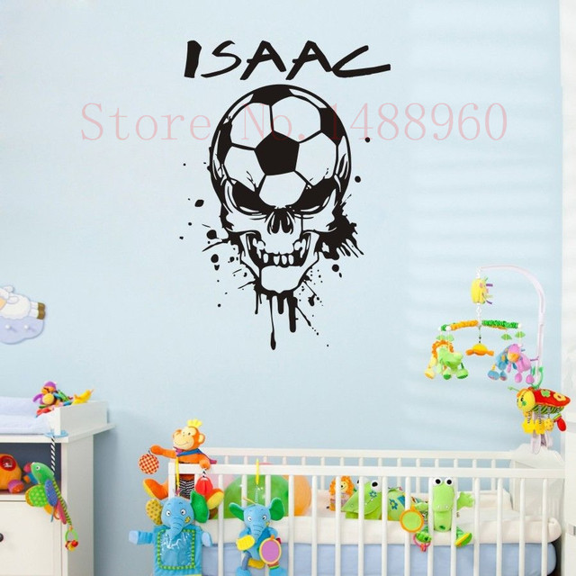 E78 soccer ball skull head custom name wall decal wall stickers boys kids room wall art