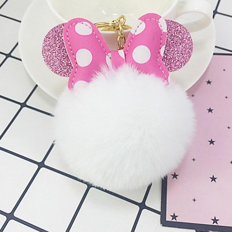 Mickey Bowknot Rabbit Fur Ball Pompom For Car Keychain Bag Key Chains Jewelry Women Car Bag Key Ring Llaveros Chaveiros YZ001