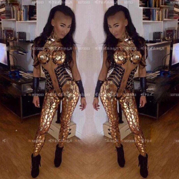 nightclub  Gold Sequins Jumpsuit One-Piece Rompers Stage Wear Costumes Singer Outfit bar costumes  party favors