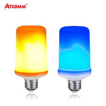 9W Ampoule LED E27 Flame Lamp With Gravity Sensor Dynamic Flame Effect LED Corn Light Bulb 85-265V Blue Yellow Fire(China)