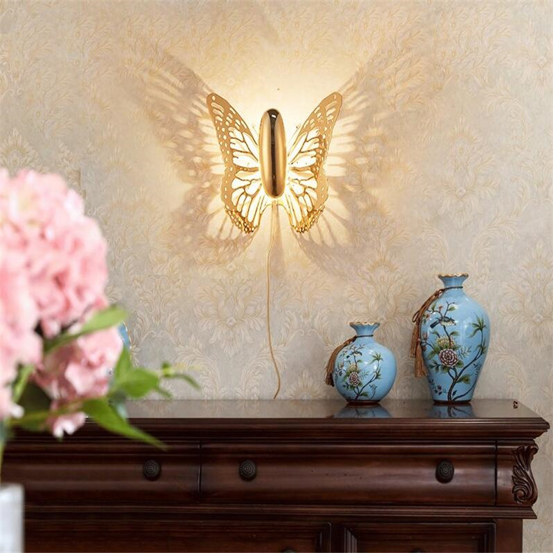 Aliexpress.com : Buy Butterfly Gold Wall Lamps Light Indoor Modern Led Lamp  Bedroom Wall Lights For Home Living Room Bedside Luminaire Home Lighting  From ...