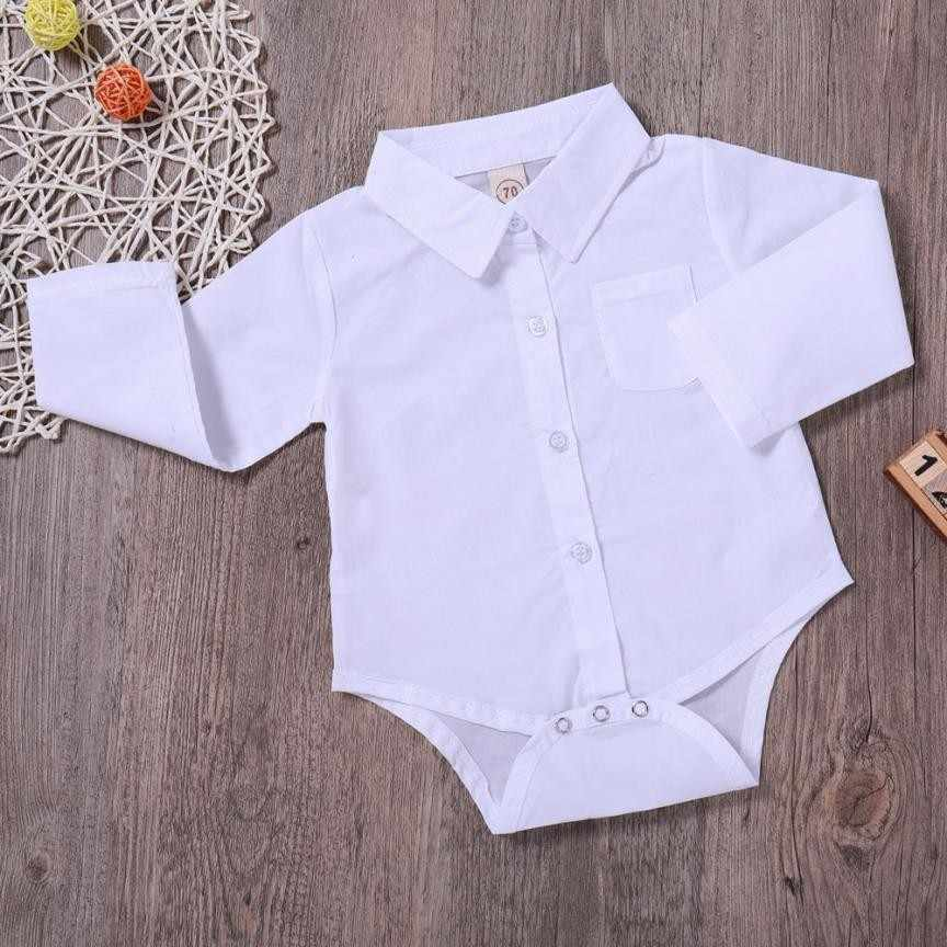 0a30268d5d7 ... MUQGEW Baby Boys Girls Turndown Collar White Shirt Rompers With pockets  Long Sleeve Outfits Clothes Bodies ...