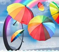Зонтик радуги 16 длинные берцовой кости Радуга зонтик Чистый цвет стержней Зонт ткани дождь подарок зонтик освещения Strike DHL подарок