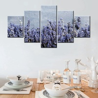 Lavender And Purple Flowers Beautiful Wall Art 5PCS HD Print Fashion Home Decoration Painting Canvas For