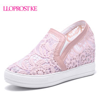LLOPROST KE Elegant Loafers Shoes Women Casual Lace Round Toe Shoes Woman Fashion Sweet Platform Increasing
