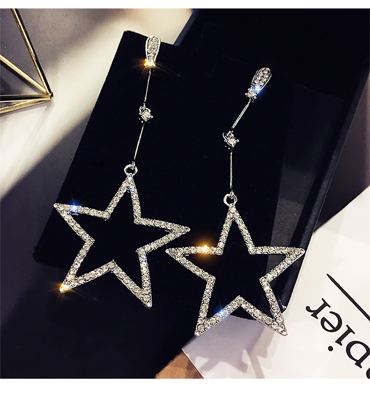 2020 Fashion temperament long five-pointed star pendant earrings 925 silver needle Crystal from Austrian Fit Women and female