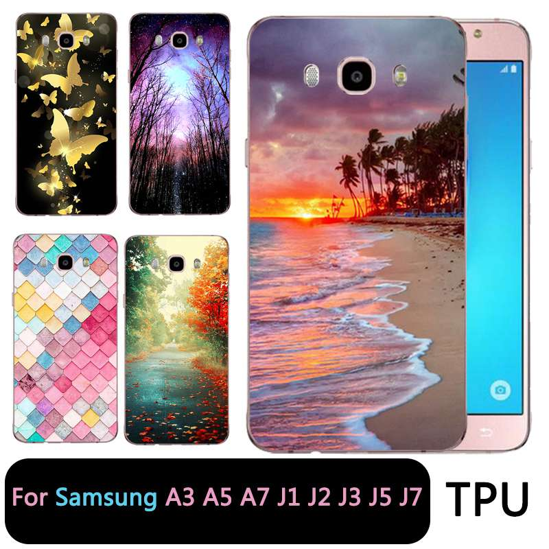 QMSWEI Soft Tpu Clear Phone Case For Samsung Galaxy A3 A5 2017 2016 prime J1 J2 J5 J3 J7 TPU Sunset Beach Butterfly Soft Case
