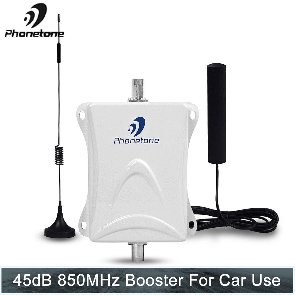 Phonetone mini 850 MHz 45dB Gain amplificateur de téléphone portable Kit de répéteur de Signal Mobile avec câble d'antenne utilisé pour voiture/vr/camion