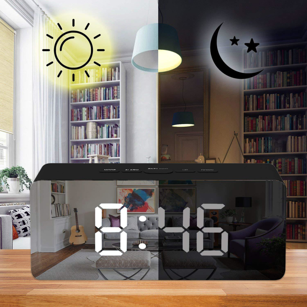 12H/24H Digital Display Alarm Clock Mirror , LED Desktop Digital Table Clocks , Night Lights Thermometer Digital Wall Clock