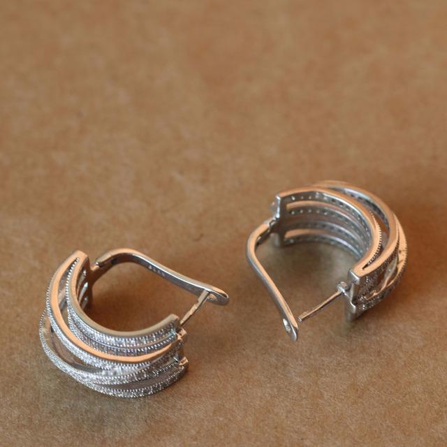 925 Sterling Silver Multilayer Crystal Earrings English Lock for  Women Cubic Zirconia European American Brinco Fine Jewelry