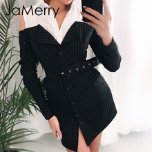 JaMerry Sexy off shoulder fake two piece stripe blazer dress women Office lady sash mini dress Autumn winter blazer blouse dress