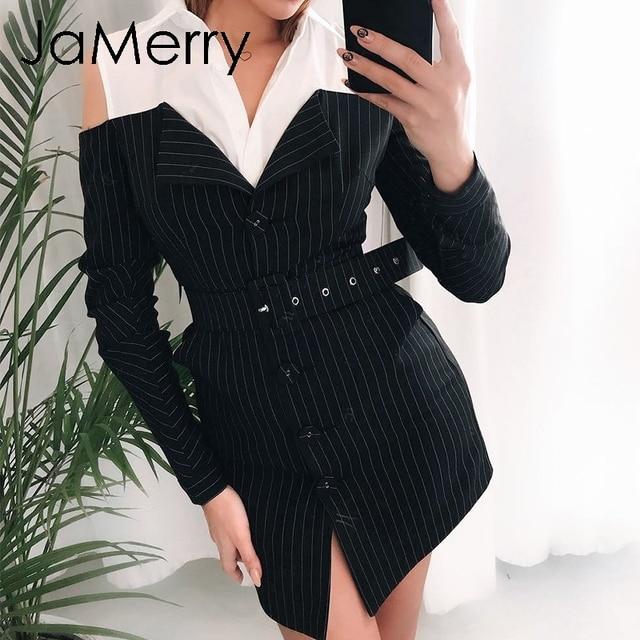 JaMerry Sexy off shoulder fake two piece stripe blazer dress women Office lady sash mini dress Autumn winter blazer blouse dress