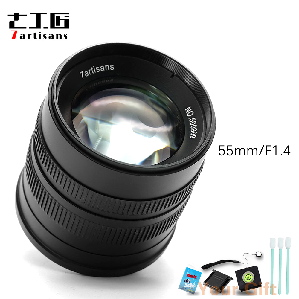 7artisans 55mm F1.4 Large Aperture Portrait Manual Focus Micro Camera Lens Fit for Canon eos-m Mount E Fuji Mount+Free Gift
