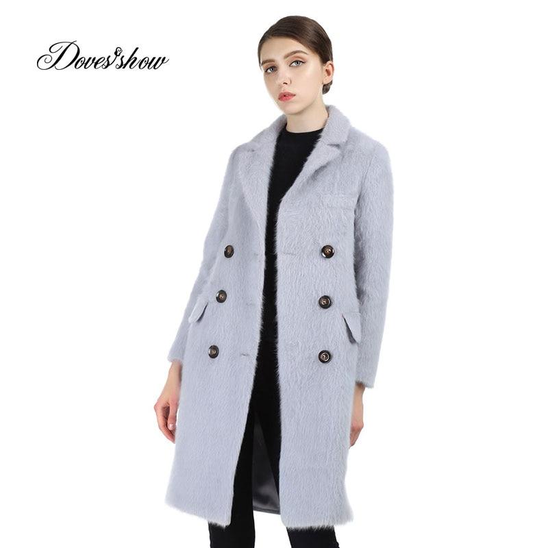 Kruvaze Kadın Vizon Kürk Kaşmir Ceket 2017 Yeni Yün Ceket Kadın - Bayan Giyimi
