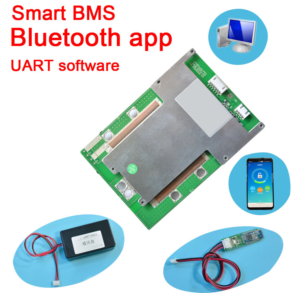 Bluetooth app <font><b>5S</b></font> 16V 80A 60A <font><b>40A</b></font> 20A Lifepo4 Lithium smart <font><b>bms</b></font> battery protection board pcm android UART software monitor image