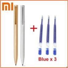 Оригинальная металлическая ручка Xiaomi Mijia 0,5 мм, швейцарская сменная ручка, синие/черные/красные чернила, шариковая ручка для школы и офиса