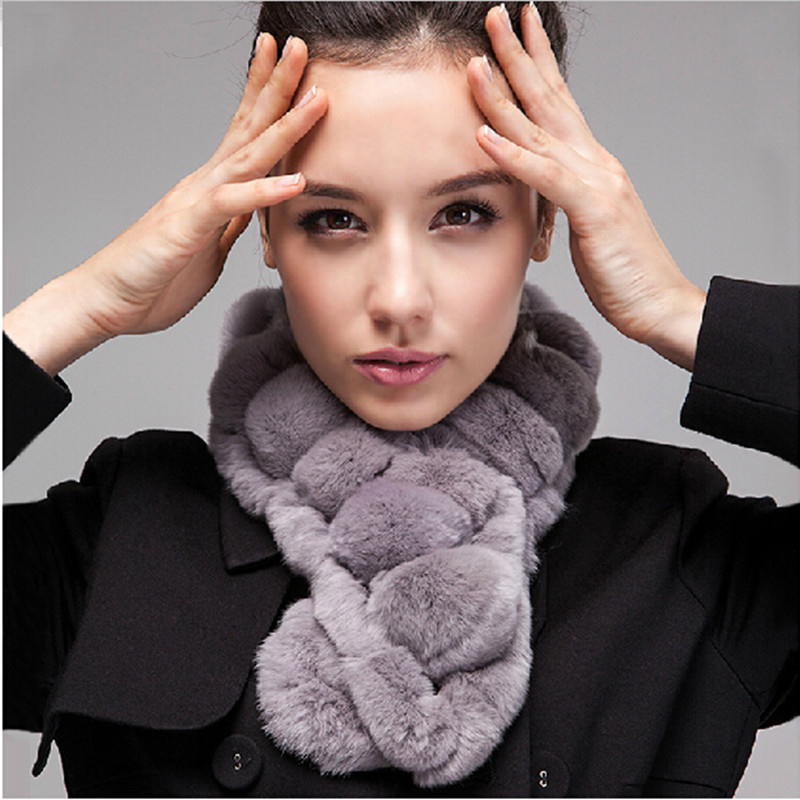 2016 New Real Rex Rabbit Fur Scarf For Winter Women Genuine Fur Scarves Wrap Ring Scarves with Big balls