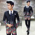 Flower Suit Men 2016 New Fashion Designer Suit Luxury Wedding Prom Suit Costume Floral Male Groom Party Suit Jacket+vest+ Pant