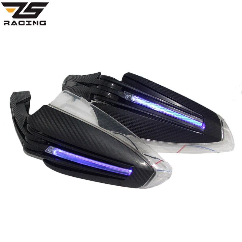 ZS Racing 6 couleur gardes à main moto gardes à main avec Led tour lumières uniques pour Scooter Pit Bike ATV Dirt Bike MX Motocross