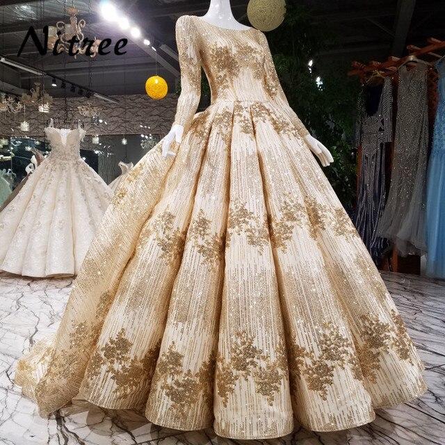 aa25fa313 Oro Bling único Telas musulmán Vestidos de noche 2018 árabe abendkleider  vestido de fiesta vestido de