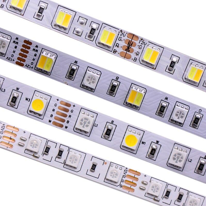 SMD 5050 RGB LED Bande Étanche 5 m 300LED DC 12 v 24 v CCT RGBCCT RGBW RGBWW BLANC CHAUD BLANC Fita LED Bandes de Lumière Flexible
