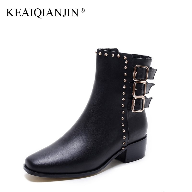 KEAIQIANJIN Woman Genuine Leather Ankle Boots Plush Plus Size 33 - 43 Black Brown Motorcycle Boots Autumn Winter Rivet Shoes keaiqianjin woman genuine leather martens boots black beige plus size 33 43 autumn winter shoes genuine leather ankle boots
