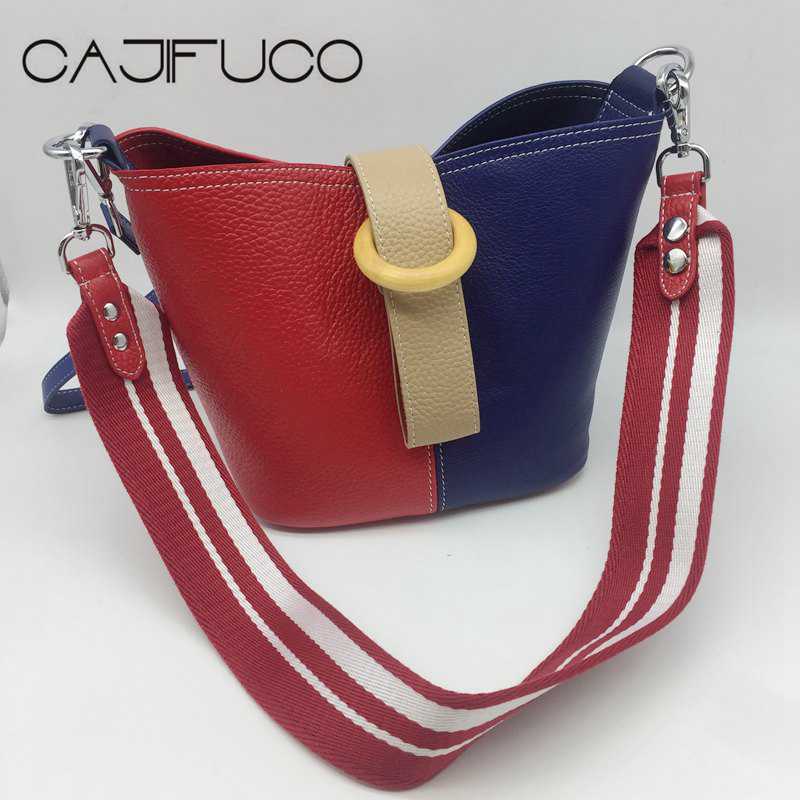 CAJIFUCO Genuine Leather Bucket Bag Contrast Color Cross body Bag Women Color Blocking Handbag Sylvie Shoulder Straps Bolsos